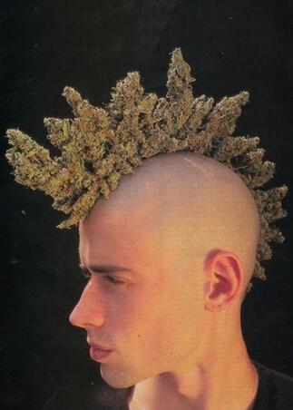 Ekstrawagancka męska fryzura z długimi włosami (irokez)