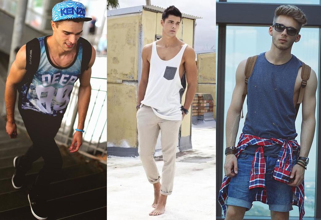 Męskie stylizacje na lato z koszulami bez rękawów