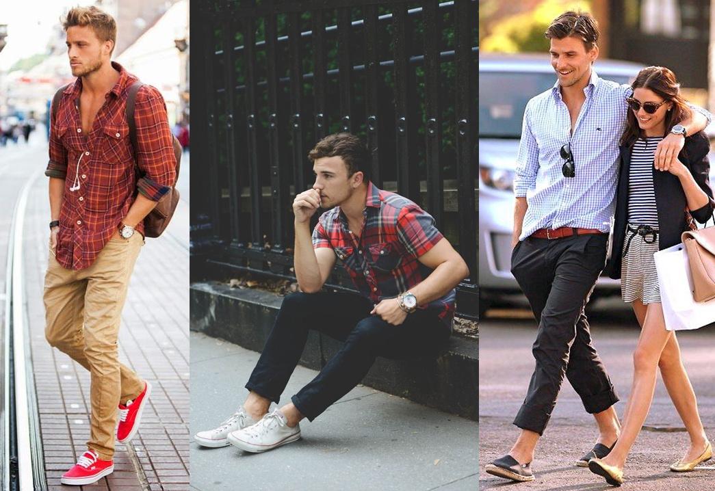 Męskie stylizacje na lato z koszulą w kratę