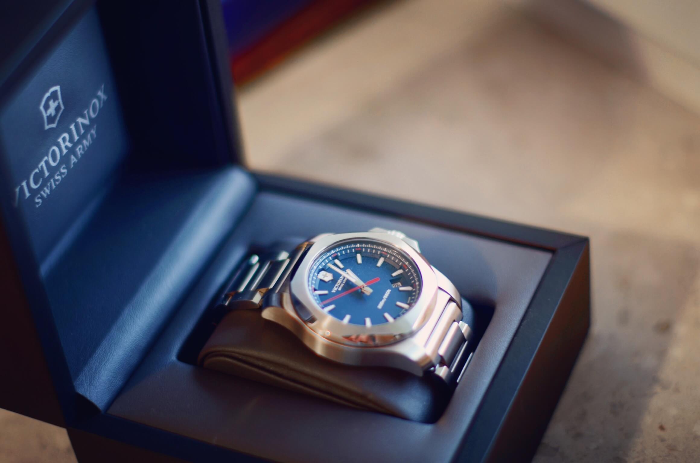 Zegarek INOX (granatowy) w pudełku