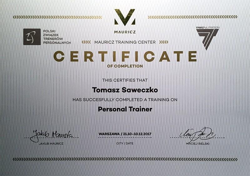 Tomasz Saweczko certyfikat trener personalny