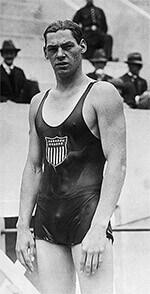 Jonny Weismuller w stroju kąpielowym