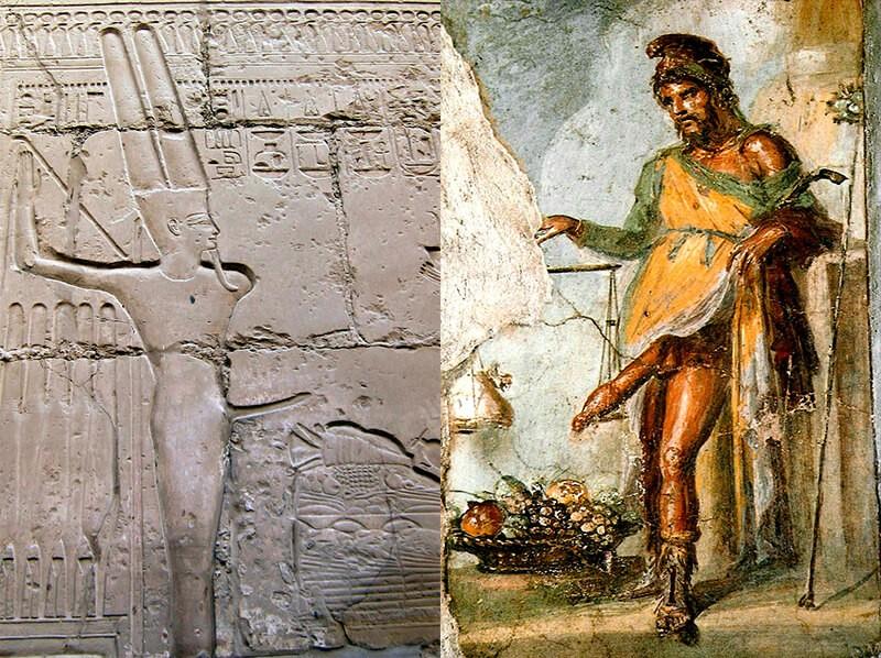 Bogowie falliczni - egipski bóg Min i grecki bóg Priap