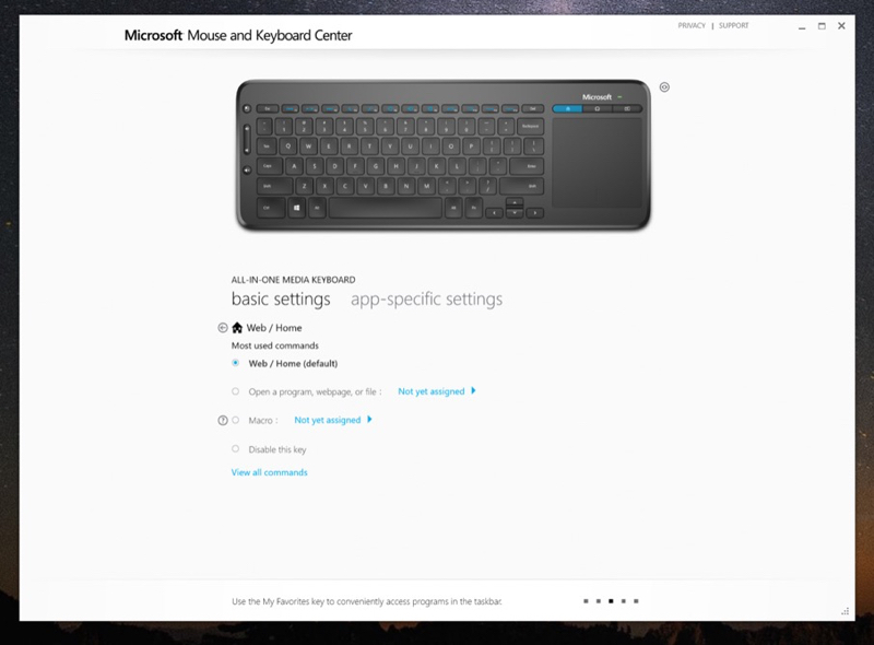 Microsoft Mouse and Keyboard Center - screen z aplikacji